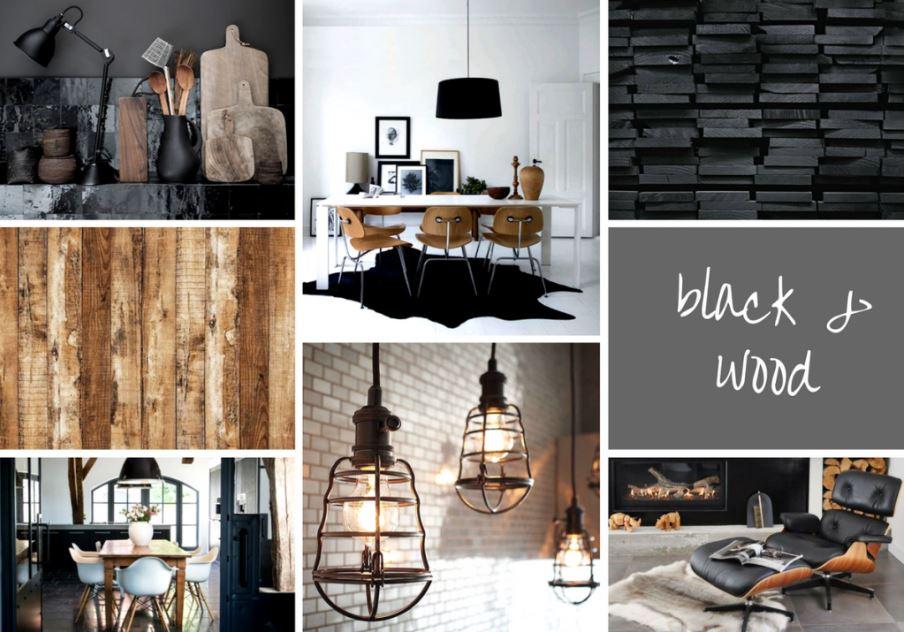 Moodboard zwart hout